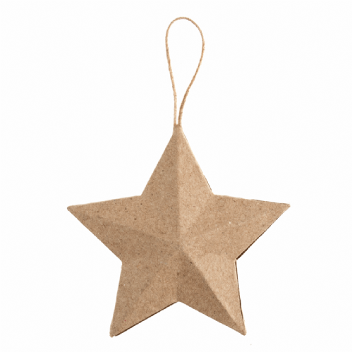 Hanging Papier Maché Decoration Star 5 Pieces